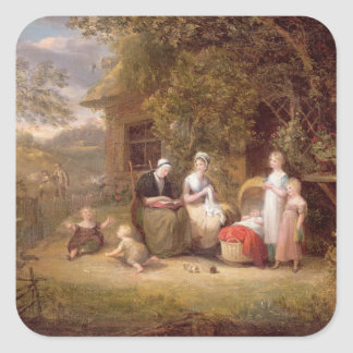 Family Group before a Thatched Cottage oil on can Sticker