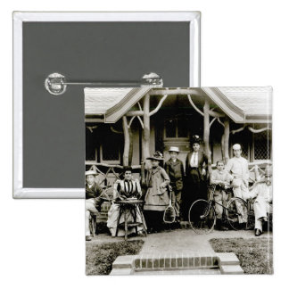 Family Group, c.1900 (b/w photo) 2 Inch Square Button