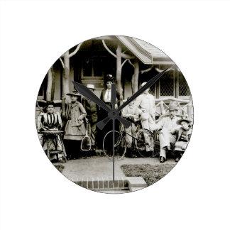 Family Group, c.1900 (b/w photo) Round Clock