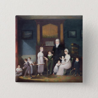 Family Group in an interior, c.1800 Pinback Button