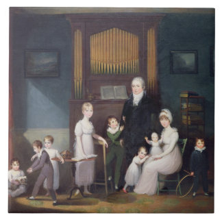 Family Group in an interior, c.1800 Tile