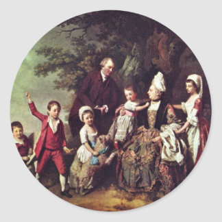 Family Group In Landscape,  By Johann Zoffany (Bes Round Stickers