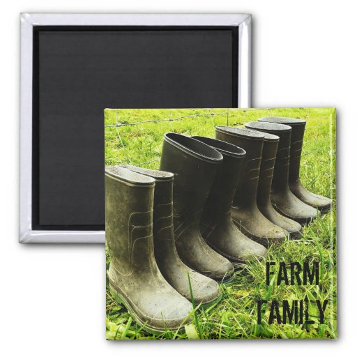Family Gumboots for the Farm Refrigerator Magnet