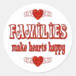 Family Hearts Round Sticker