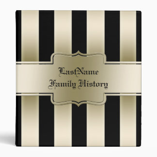 Family History Genealogy Black and Gold Stripes 3 Ring Binders
