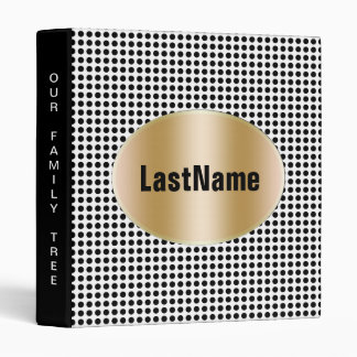 Family History Genealogy Bold Black and White Dots 3 Ring Binder