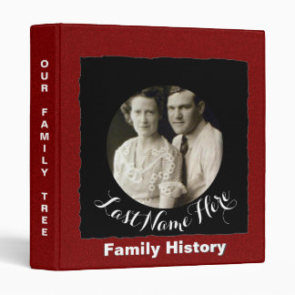 Family History Genealogy Custom Photo Red Black Binder