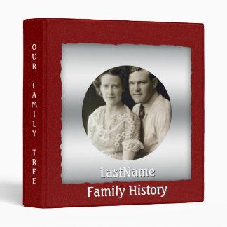 Family History Genealogy Custom Photo Red Glitter Binders