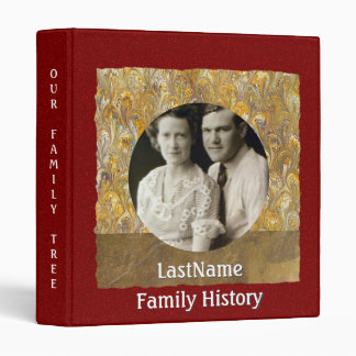 Family History Genealogy Custom Photo Red Gold Binder