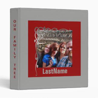 Family History Genealogy Custom Photo Red Gray 3 Ring Binder