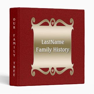 Family History Genealogy Custom Red Glitter Look Binder