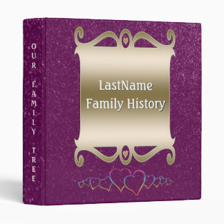 Family History Genealogy Faux Purple Glitter Chic 3 Ring Binders