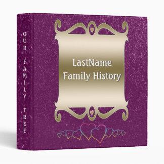 Family History Genealogy Faux Purple Glitter Chic Binder