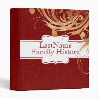 Family History Genealogy Girly Red Glitter Look Vinyl Binders