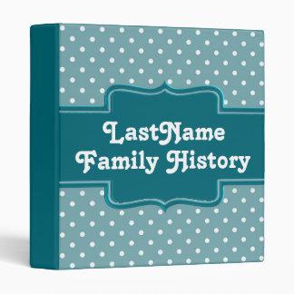 Family History Genealogy Girly Teal Polka Dots Vinyl Binder