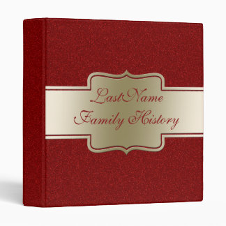 Family History Genealogy Gold Red Glitter Look 3 Ring Binder