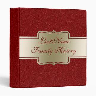 Family History Genealogy Gold Red Glitter Look Vinyl Binder