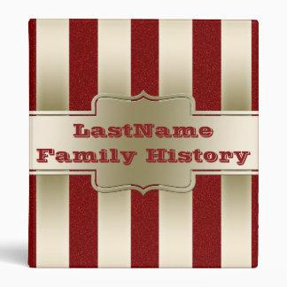 Family History Genealogy Gold Stripes Red Glitter Vinyl Binder