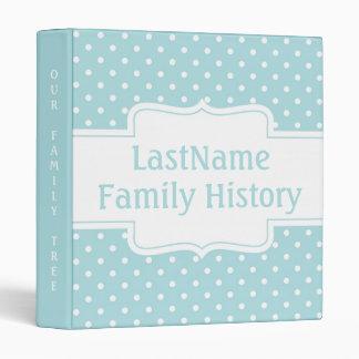 Family History Genealogy Modern Aqua Polka Dots 3 Ring Binders