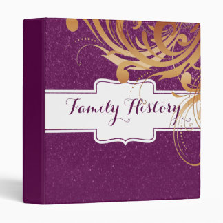 Family History Genealogy Purple Glitter Look 3 Ring Binder