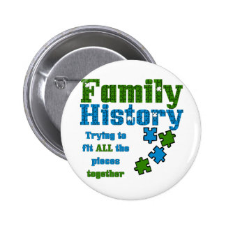 Family History Puzzle Pinback Button