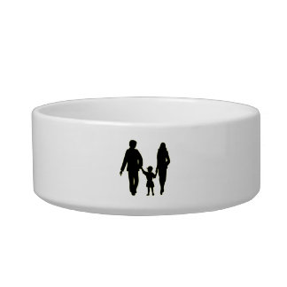 Family holding hands silhouette bowl