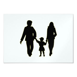 Family holding hands silhouette card