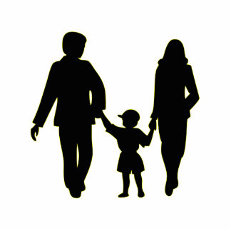 Family holding hands silhouette cutout