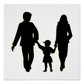 Family holding hands silhouette poster