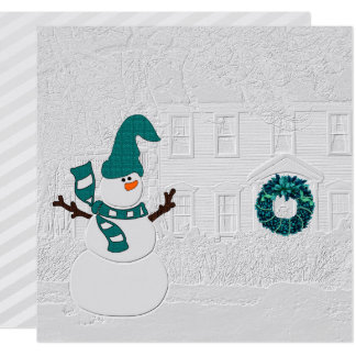 Family Holiday Message Snowman Theme Card
