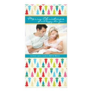 FAMILY HOLIDAY PHOTOCARD :: patternedxmastree 1P Card