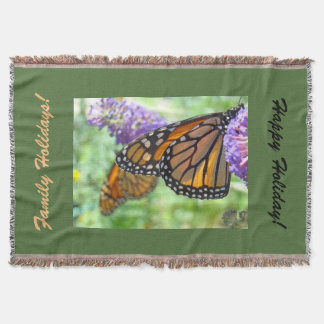 Family Holiday Throw Blankets Monarch Butterflies