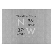 Family Home GPS Coordinates Glass Cutting Board