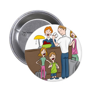 Family Hotel Check In Cartoon 2 Inch Round Button