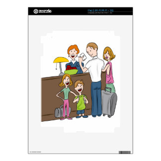 Family Hotel Check In Cartoon iPad 2 Decal