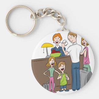 Family Hotel Check In Cartoon Keychain