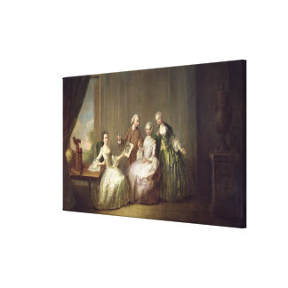 Family in an Interior with Squirrels Canvas Print