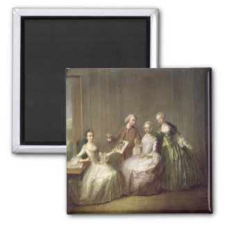 Family in an Interior with Squirrels 2 Inch Square Magnet