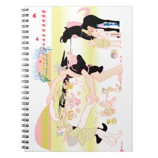 family in Japanese Edo Spiral Notebook