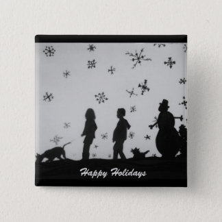 """""""Family In The Snow"""" Christmas Holiday Button"""