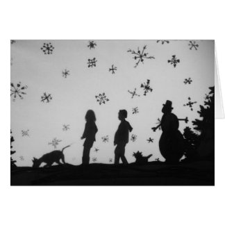 """Family In The Snow"" Happy Holidays Christmas Card"