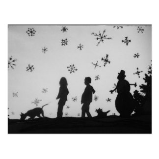 """""""Family In The Snow"""" Holiday/Christmas Postcard"""