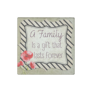 Family Inspirational Quote Stone Magnet