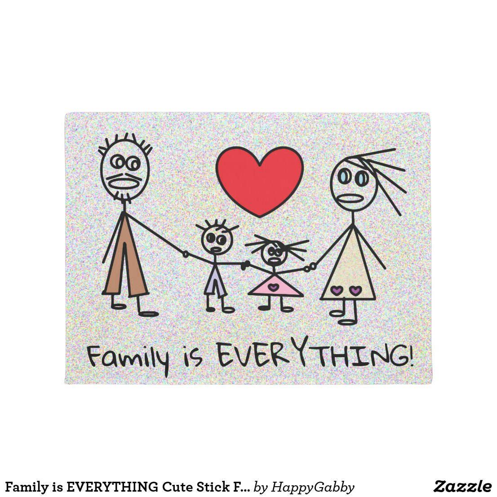 Cute Stick Family Design Doormat