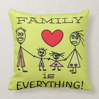 Cute Stick Figure Family Pillow