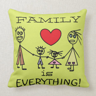 FAMILY is EVERYTHING Cute Stick Figure Family Throw Pillow