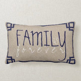 Family Is Forever Beige Linen & Blue Frame Lumbar Pillow