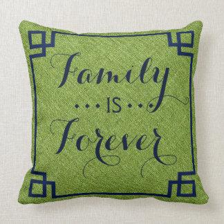 Family Is Forever green Linen Blue Frame Throw Pillow