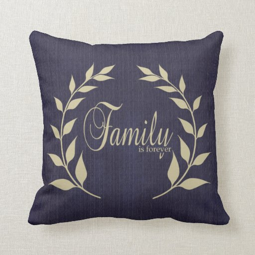 Family is Forever in a Rustic Blue Burlap Print Throw Pillow Zazzle