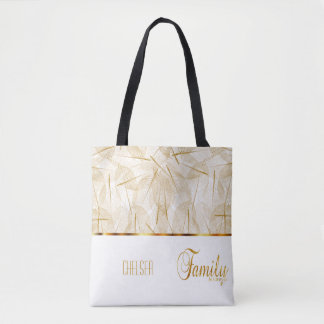 Family is Forever in Gold and White Tote Bag
